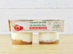 yaourt au lait de brebis et pêche de vigne bio