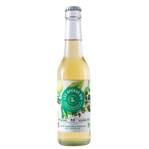 cocktail pétillant bio sans alcool menthe gingembre et citron vert